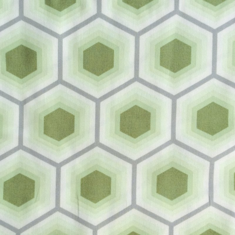FS16 Tula Pink Bumble Hexagons Geometric Green Quilting Cotton Quilt Fabric