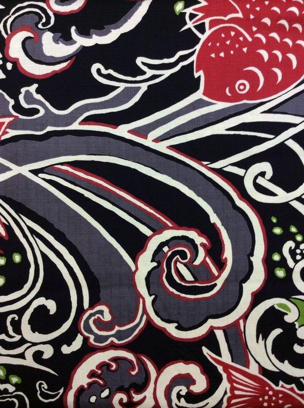 Rising Sun Koi Fish Echinokokka Japan Kawaii Asian Canvas Cotton Fabric FT04