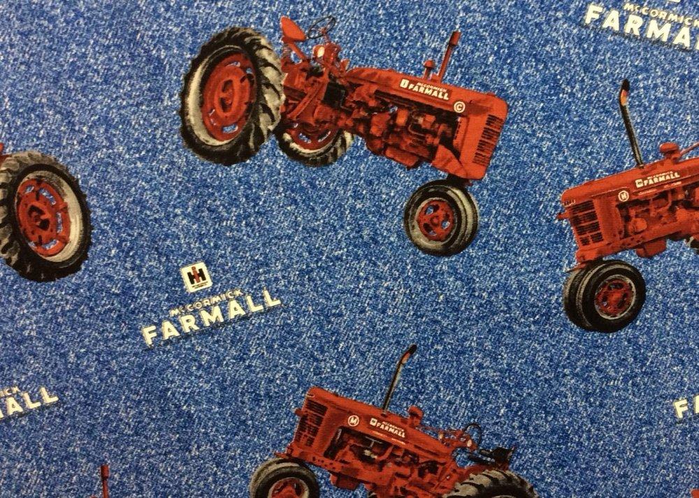 FAT QUARTER! Farmall McCormick Tractor Logo Farm Equipment Cotton Fabric Quilt Fabric RPFFT08