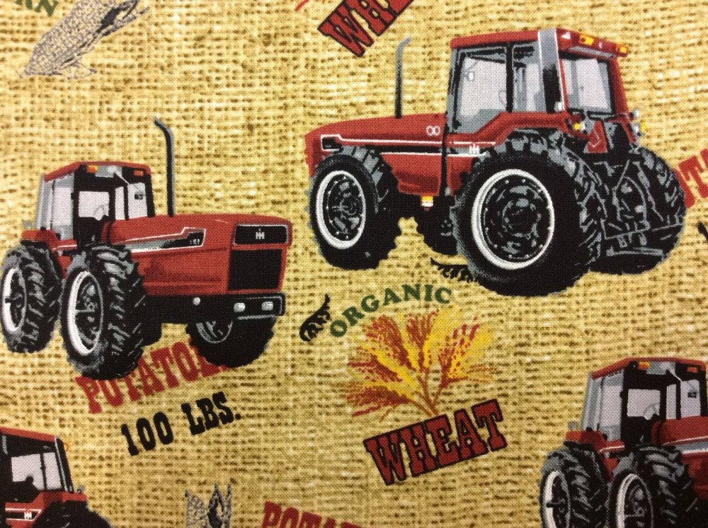 Farmall Tractor International Harvester Burlap Sack PRINT Farm Farming Cotton Quilt Fabric FT10 CR455