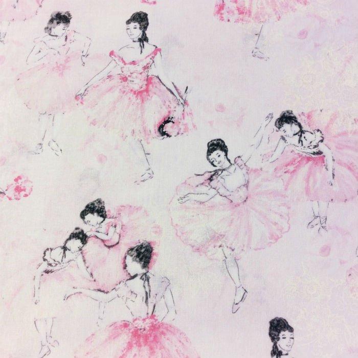 FT103 Ballerina Diva Ballet Prima Slippers Cute Pretty Lace Cotton Quilt Fabric