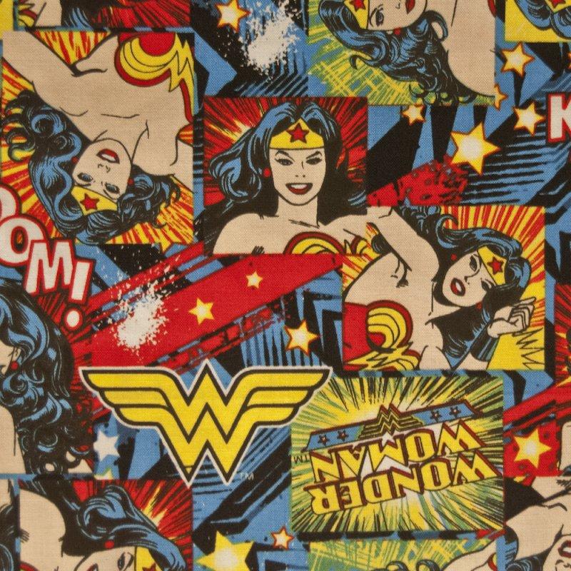 Wonder Woman FT18 Superhero Kaboom Comic Strip Hero Quilting Cotton Quilt Fabric