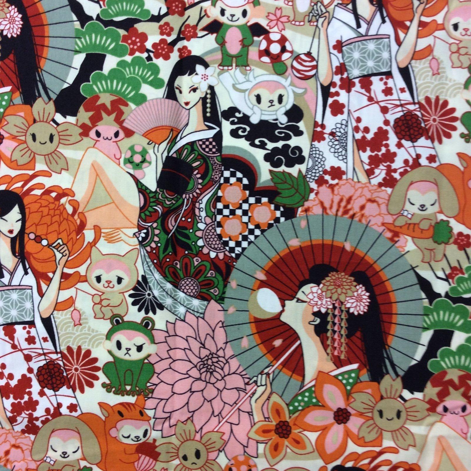 FT31 Japanese Geisha Fashion Oriental Cartoon Anime Quilt Cotton Quilting Fabric