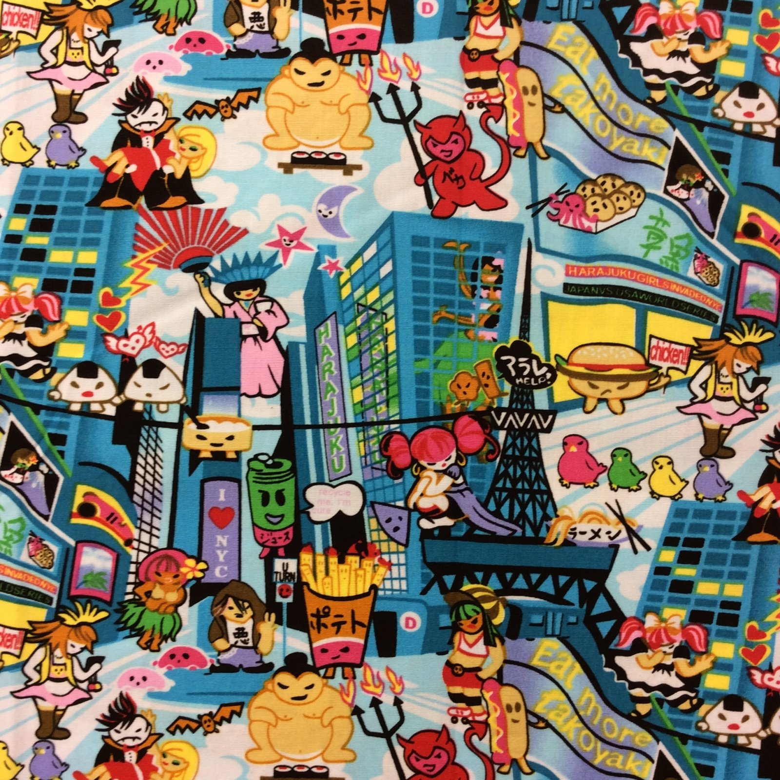 FT32 Cartoon Anime City NYC Statue of Liberty Japan Quilt Cotton Quilting Fabric