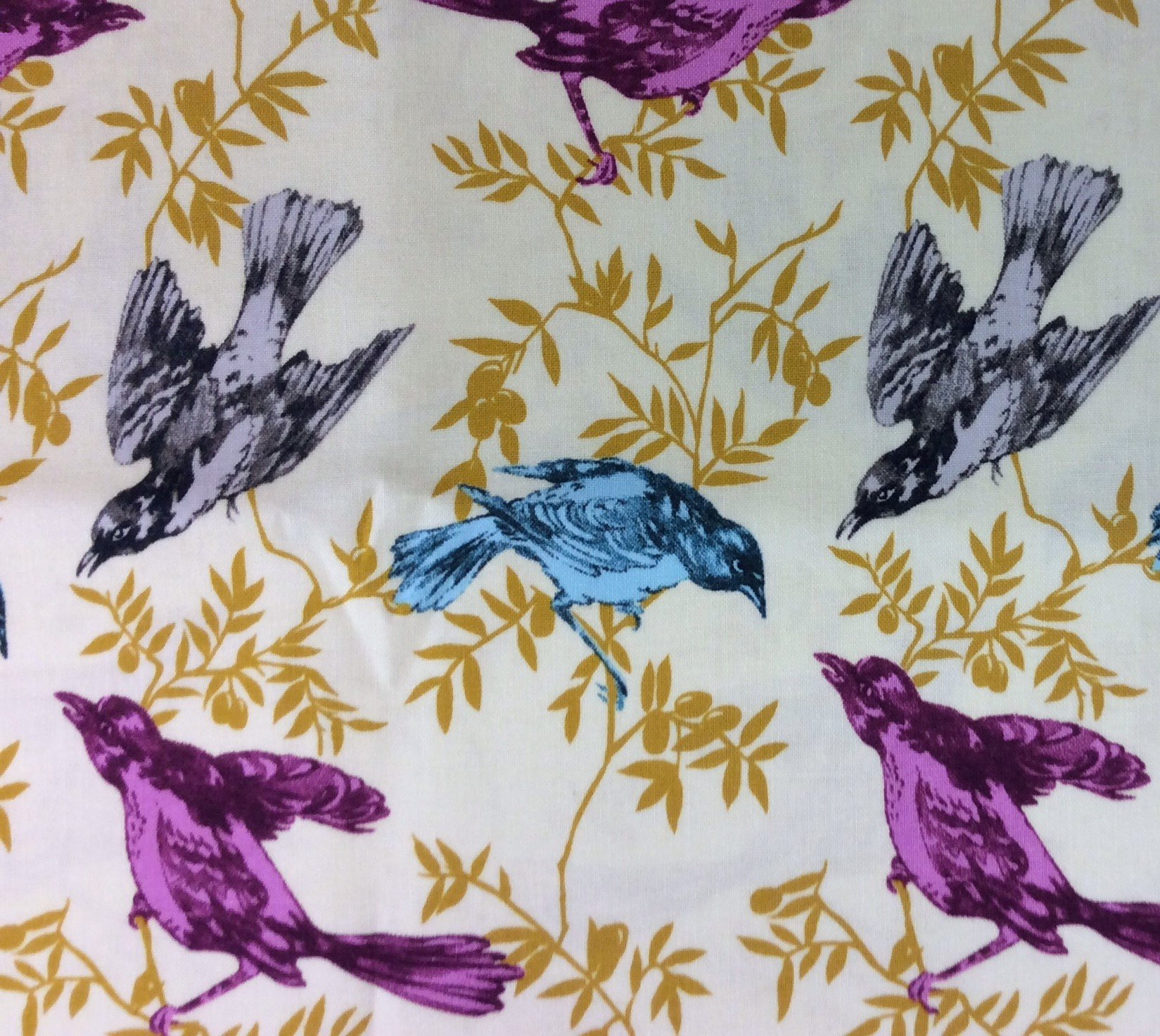 Neon Birds Sparrow Leaves Branches Spring Aviary Cotton Quilting Fabric FT50