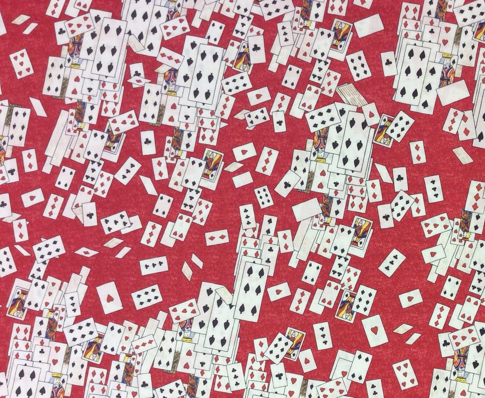 FT58 Alice In Wonderland Playing Cards Queen Of Hearts Quilting Cotton Fabric