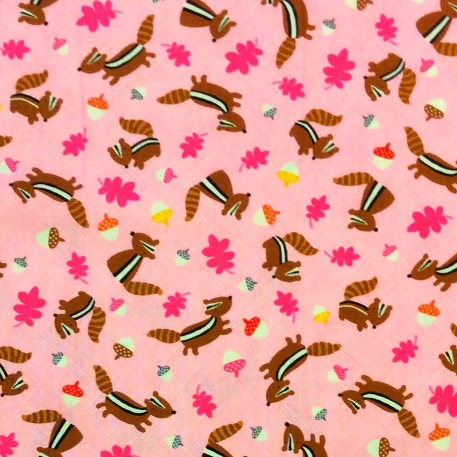 FT77 Chipmunk Acorn Oak Leaves Cute Forest Dot Dotty Pink Cotton Quilt Fabric
