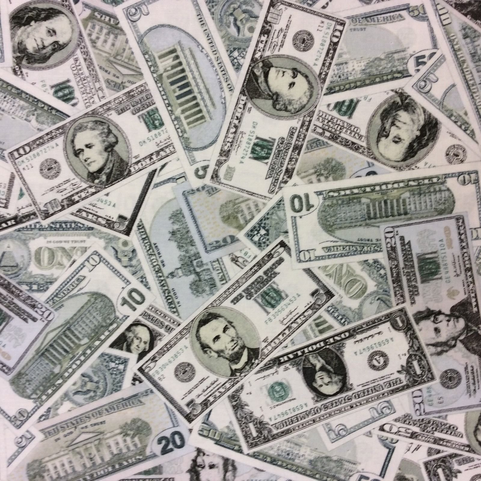 FT93 Dollar Bills Money Cash Dough Bucks Franklin Rich Cotton USA Quilt Fabric