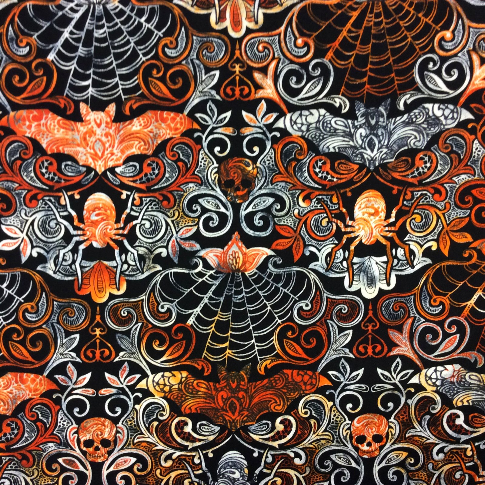 FT97 Halloween Spooky Scary Skull Damask Paisley Spider Bat Cotton Quilt Fabric