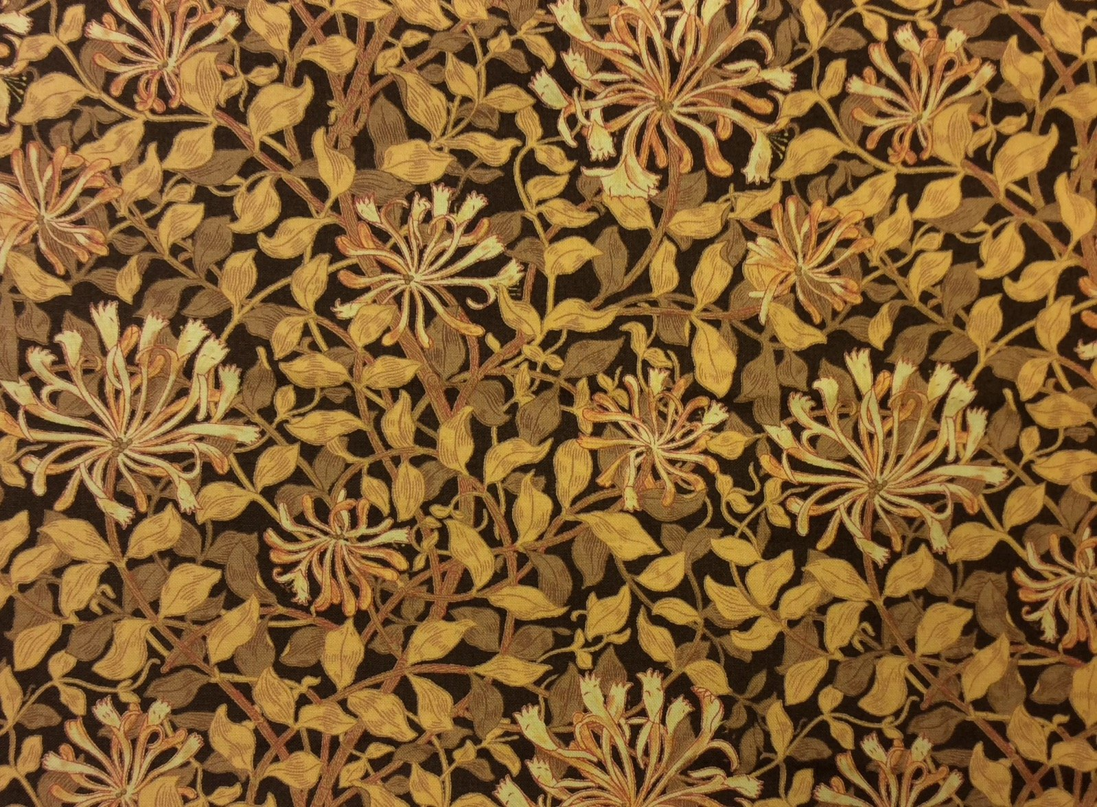 Rare! Barbara Brackman MODA Best Of Morris Flower Deco Nouveau Floral Vines Gold Leaves Cotton Quilting Fabric MO26