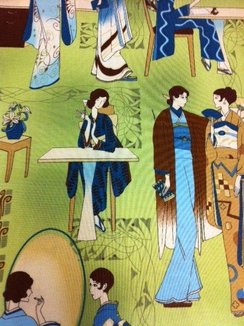 Geisha Art Deco Ladies Japanese Sake Asian Cotton Fabric Quilting Fabric G23