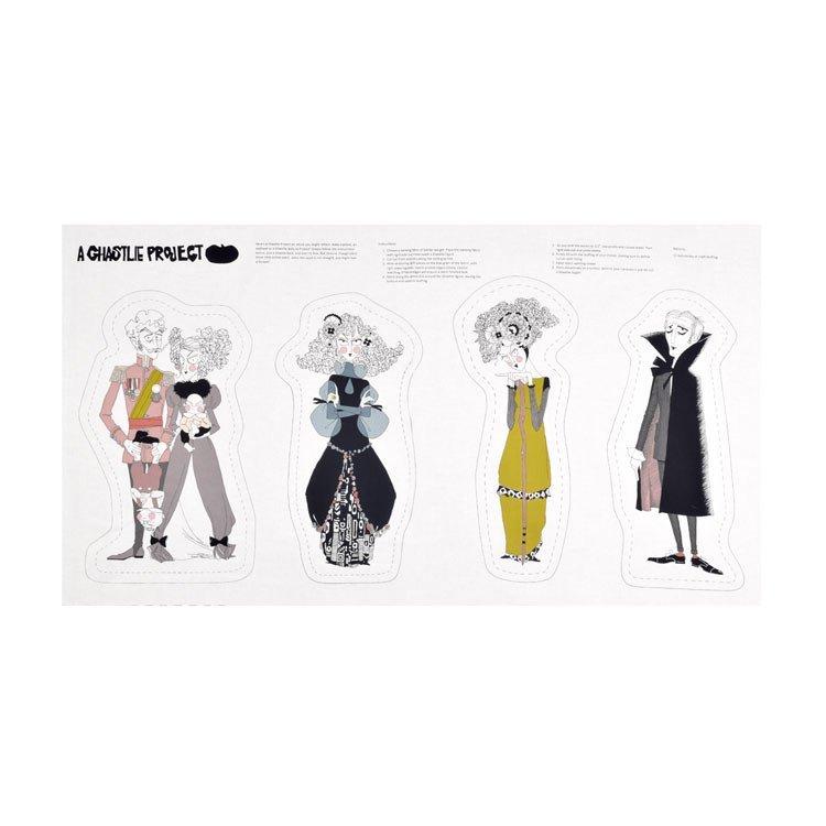 Ghastlies Retro Goth Gorey Style Illustration Panel A Ghastlie Project Cotton Quilt Fabric PNL31