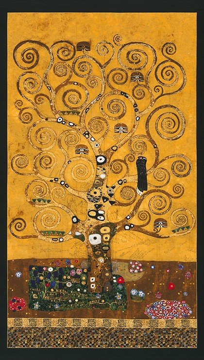 Gustav Klimt Tree of Life Panel Cotton Quilt Fabric RK189