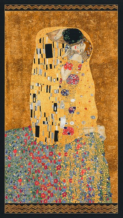 Gustav Klimt The Kiss Panel Cotton Quilt Fabric RK197