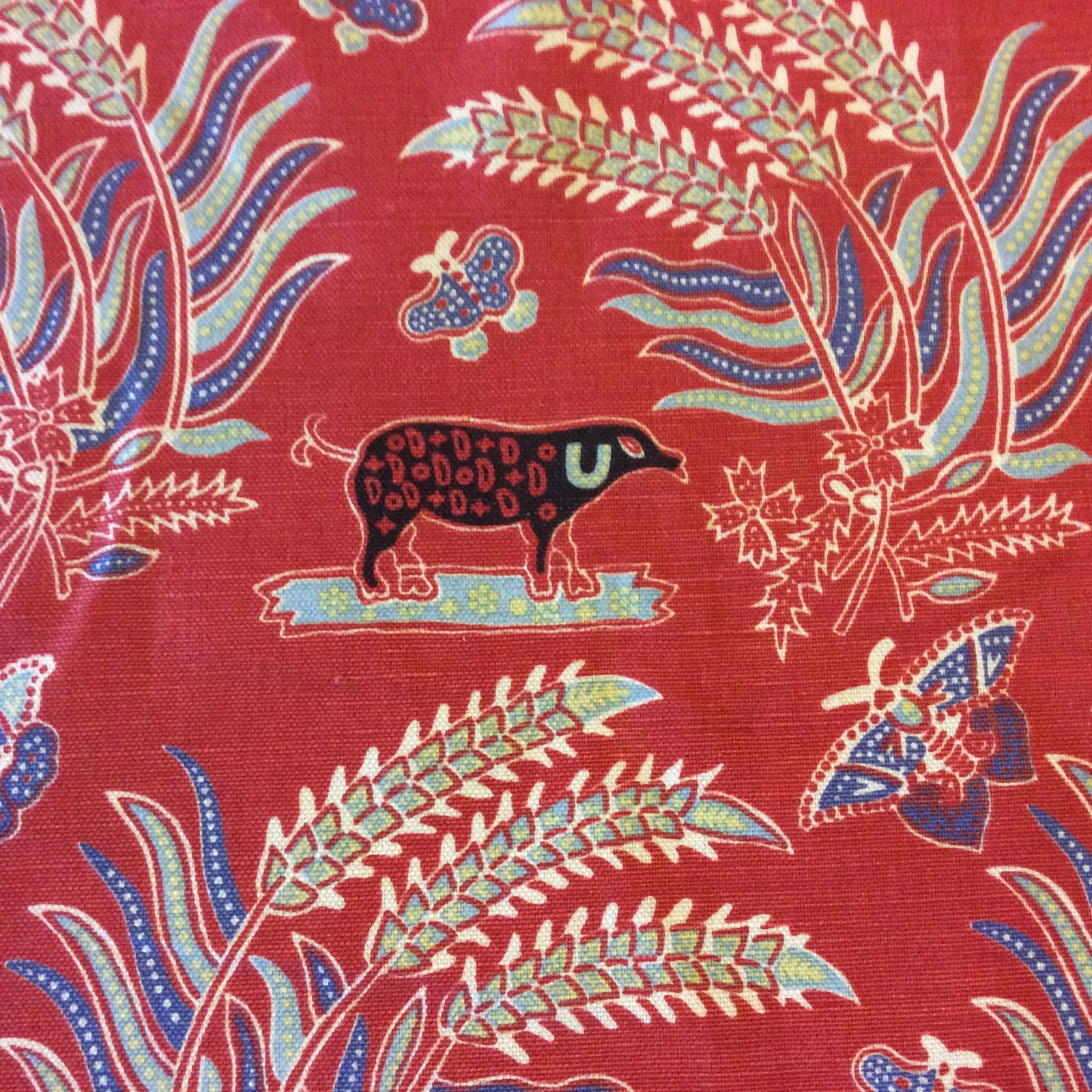 HD047 Red Animal Print Cotton Folk Art Upholstery Drapery Home Decor Fabric