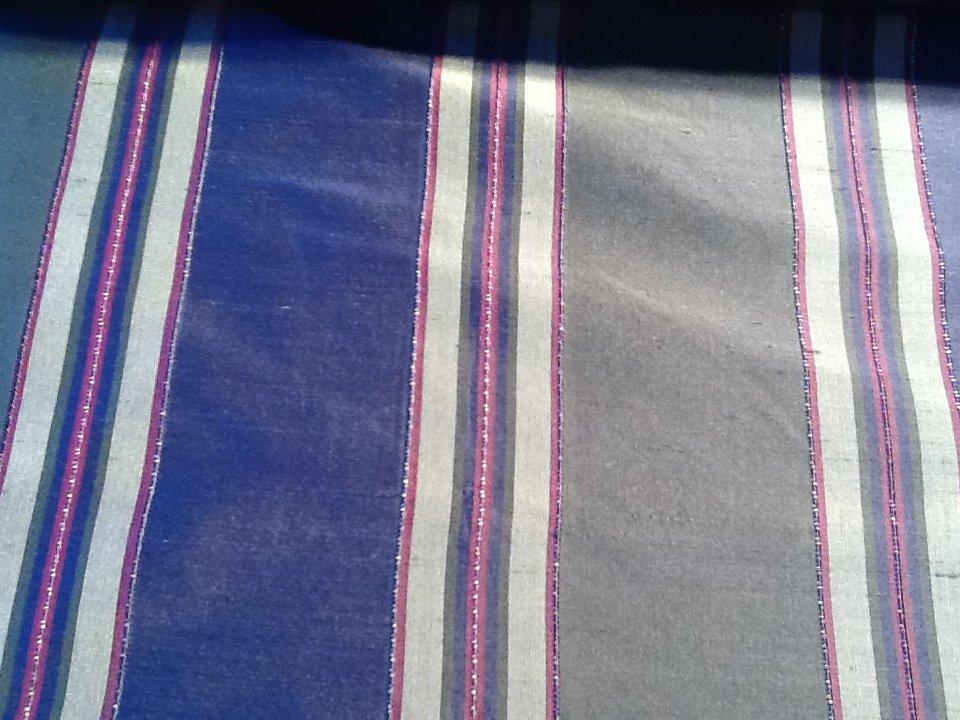 Navy Olive Burgundy Antique Gold Embellished Stripe Silk Fabric Drapery Fabric Apparel Fabric  HD119