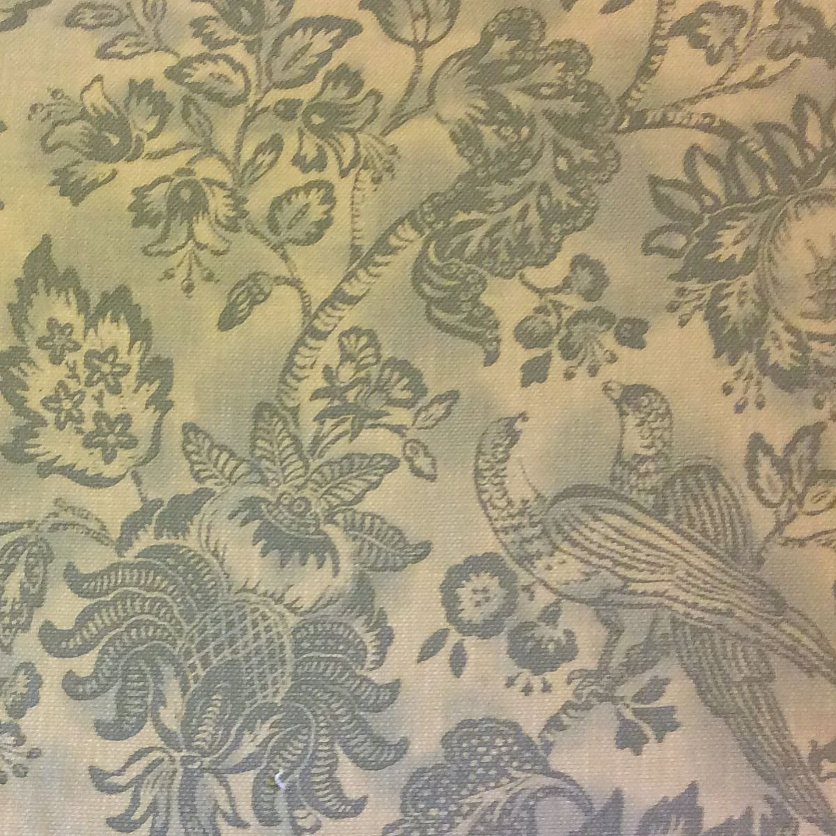 Toile Bird Fl Large Scale Spa Blue Heavy Cotton Fabric Drapery Upholstery Closeout Hd364