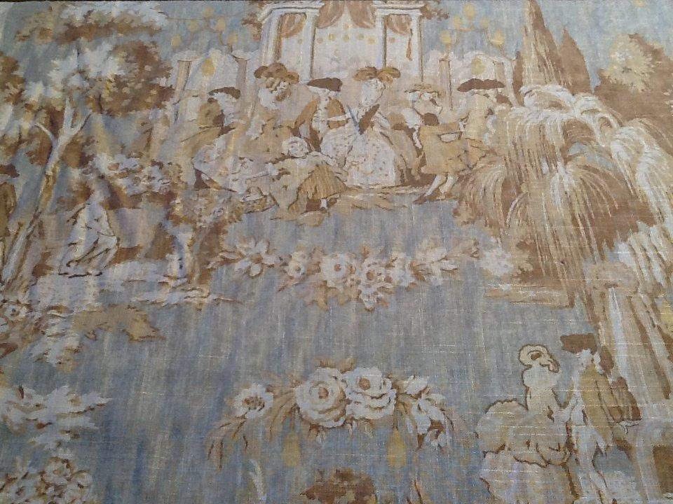 Toile Colonial Print Linen Fabric Sky Blue Drapery Fabric Upholstery Fabric SALE! $19/yard HD366