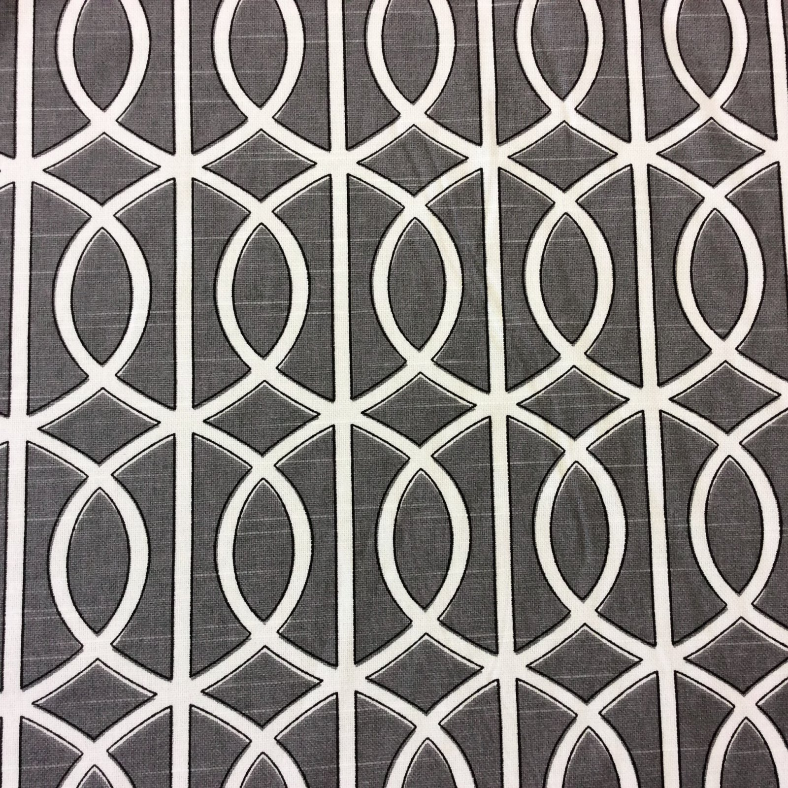 Dwell Studio Grey Smoke White Lattice Gate Modern Cotton Fabric