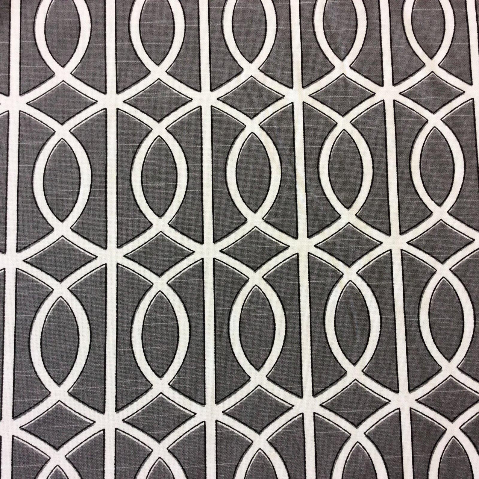 Dwell Studio Grey Smoke White Lattice Gate Modern Cotton Fabric Drapery Upholstery 24 Yard Hd400