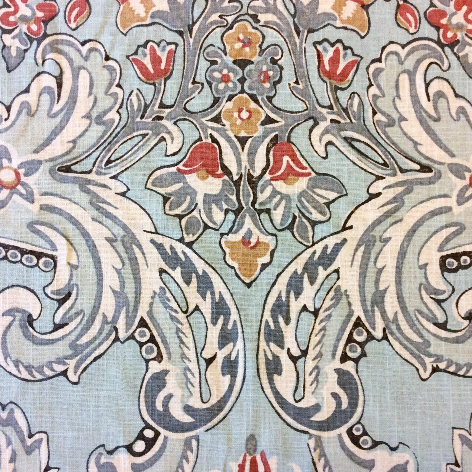 Kravet Lutron Floral Block Print Style Linen Weave Heavy Weight Textured Cotton Fabric HD506