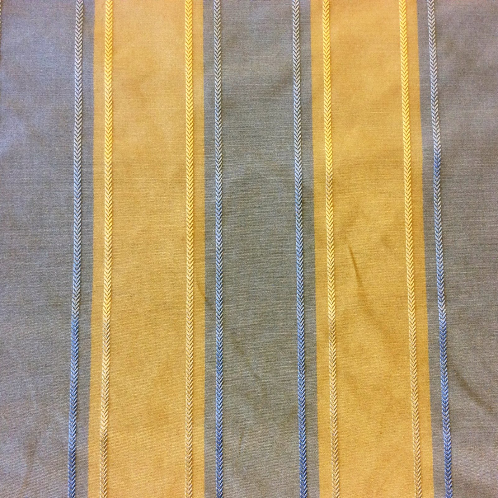 Regency Style Sky Blue and Butter Yellow Gold Vertical Stripe with Jacquard Herringbone Accent Extraordinary Silk Fabric Drapery Fabric. HD752