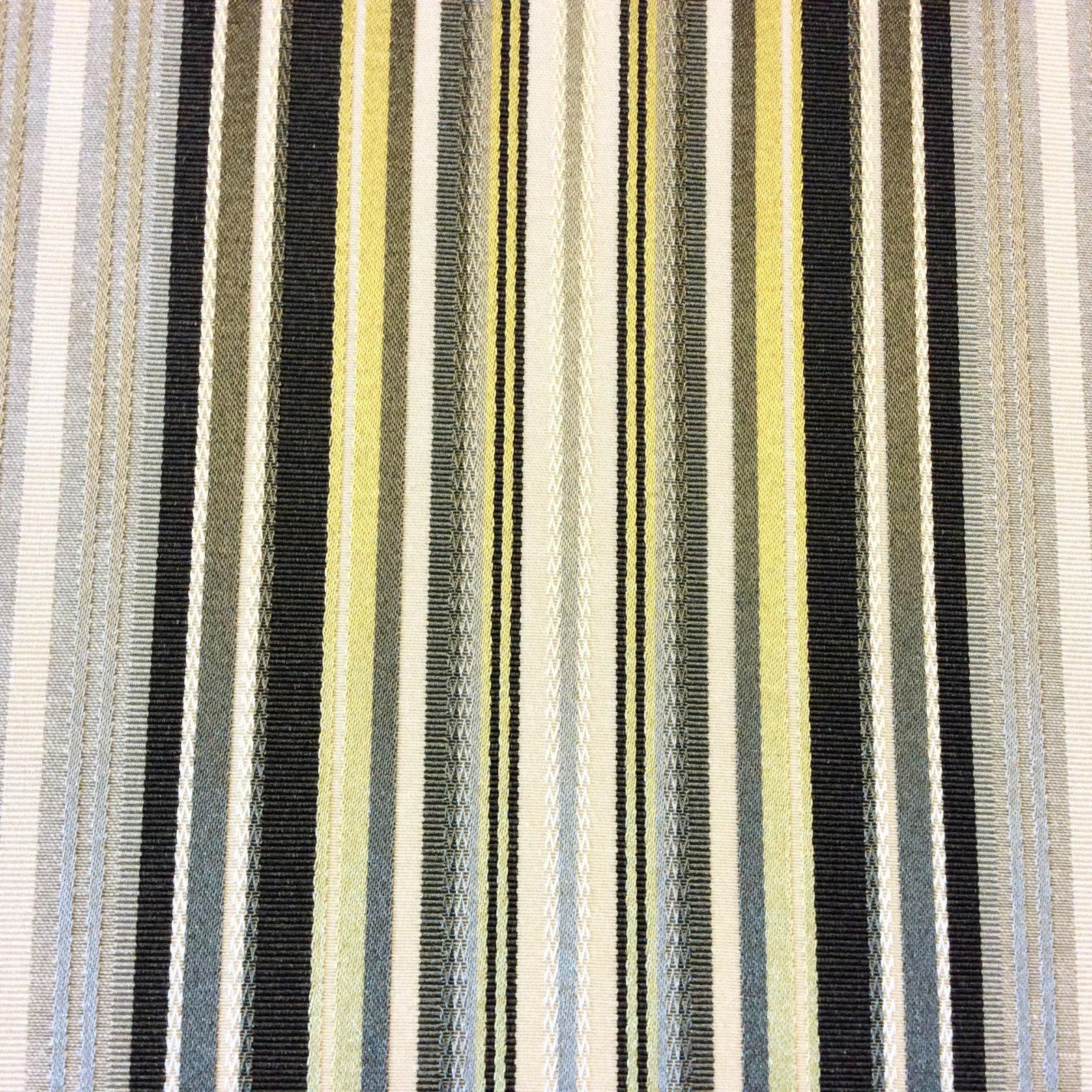 Stripe Citron Grey Ivory Modern Heavy Woven Tapestry Stripe Heavy Weight Upholstery Fabric HDA012