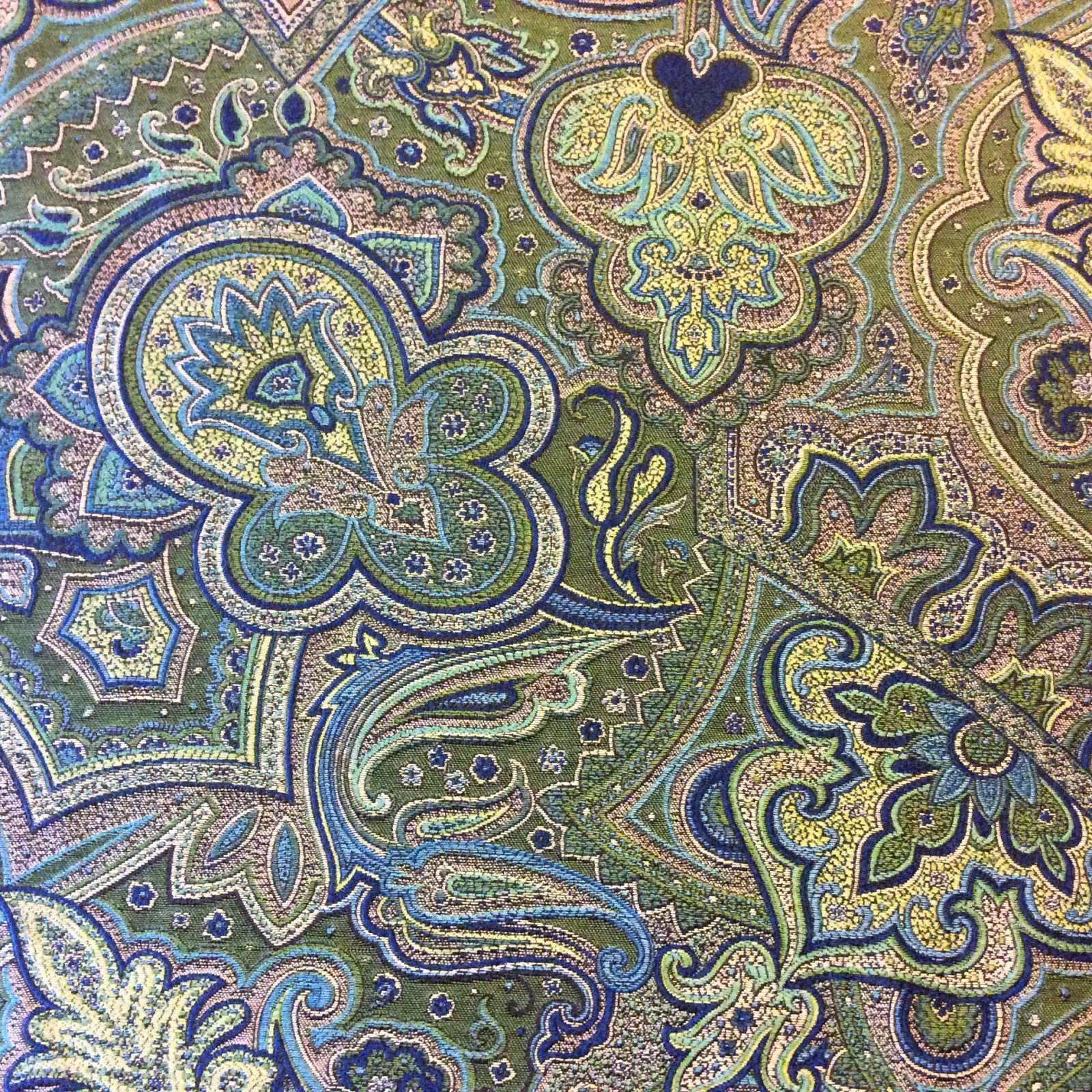 kasbah emerald green peacock blue paisley heavy woven tapestry heavy weight upholstery fabric hda013a