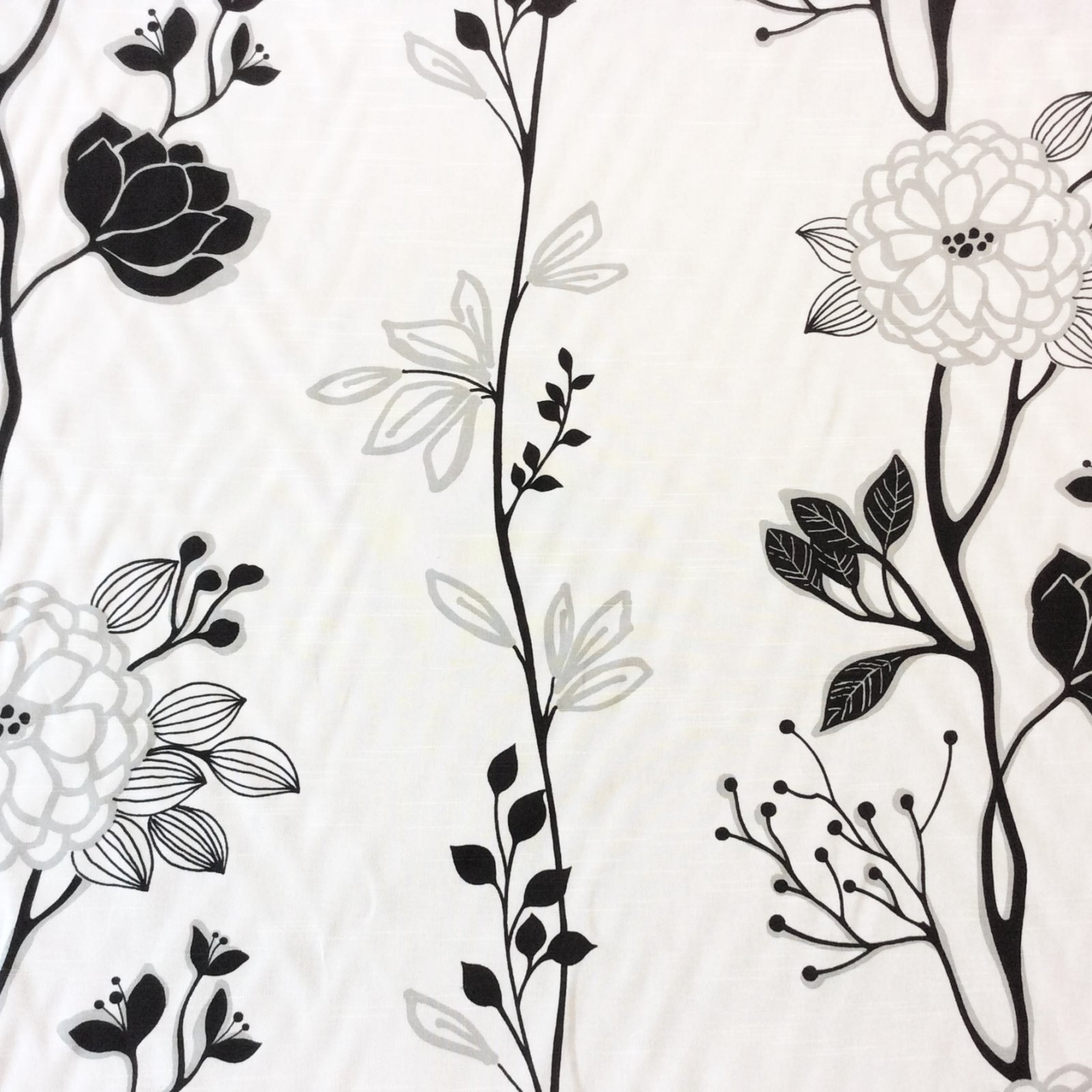 Bold Graphic Floral Black Ivory Grey Modern Design Cotton Linen Fabric Drapery Fabric HDA026