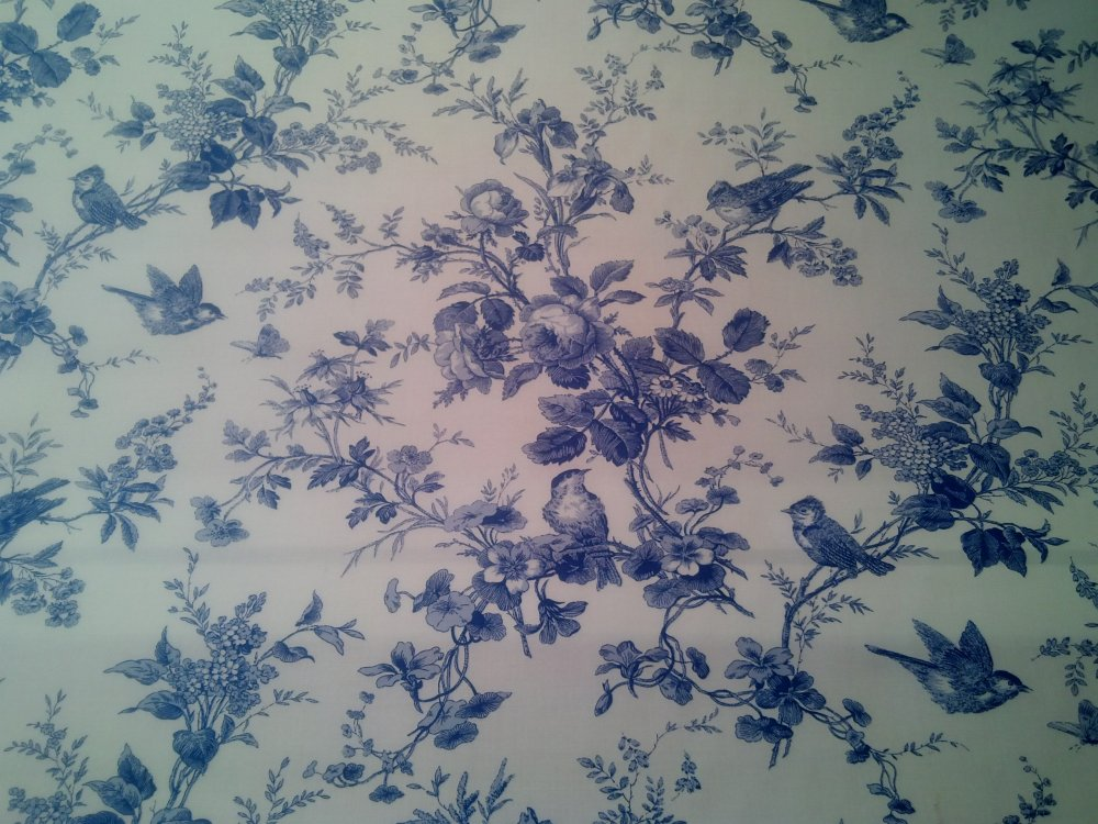 Toile Blue And White Birds Floral 100 Cotton Branches Isabella