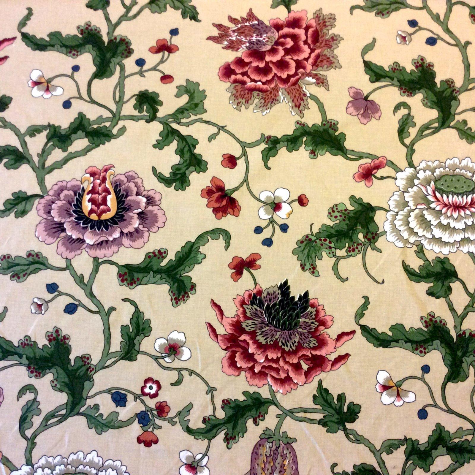 Brunschwig & Fils Athos Chotard Paris Mario Buatta Cotton Floral Fabric Architectural Digest Feature Upholstery Fabric  HDA045