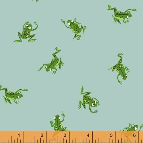 Heather Ross Kinder Retro Hopping Frogs Pond Meadow Cotton Quilt Fabric  WI123