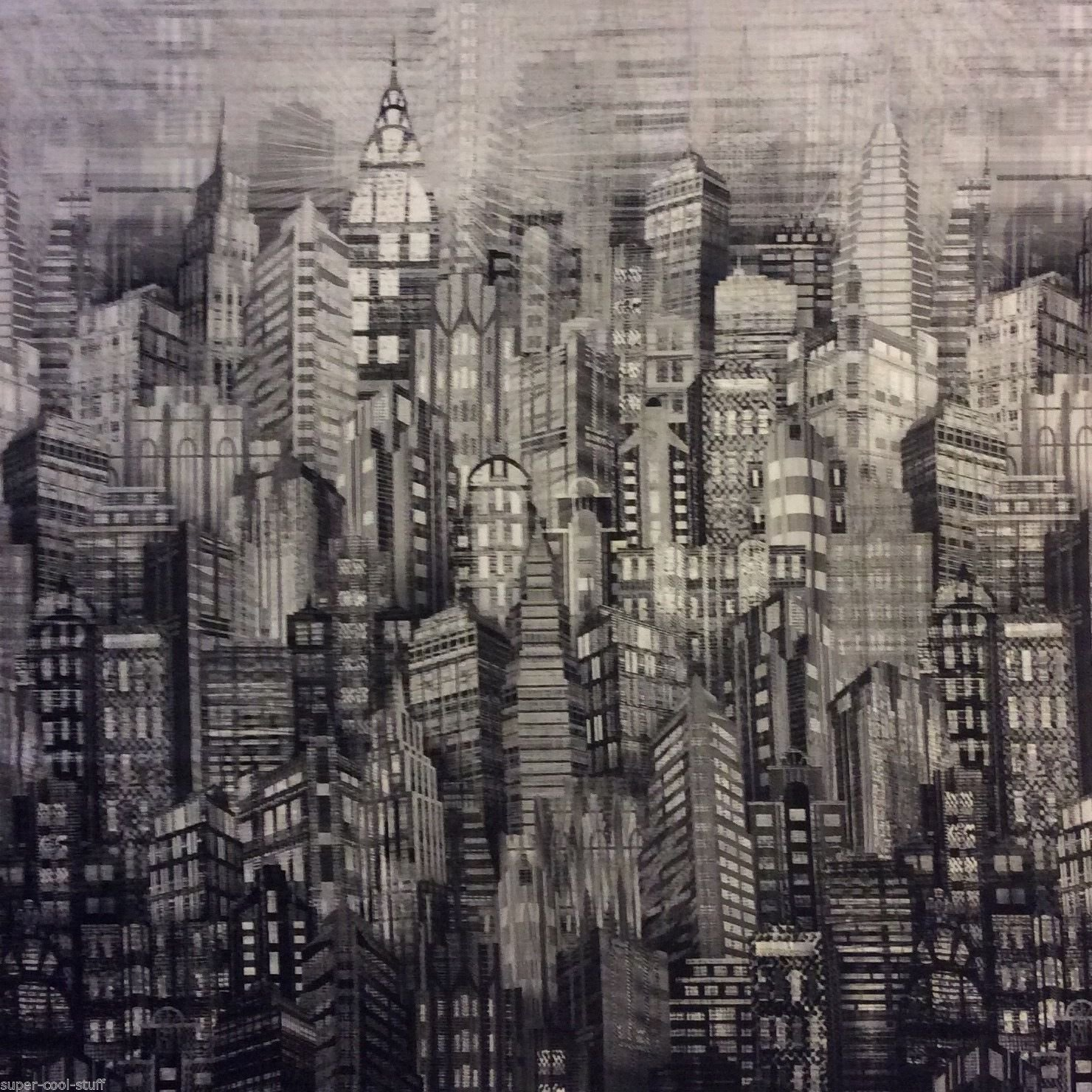 City Life Sky Scraper New York Chicago Deco Building Grey Cotton Quilt Fabric HM09