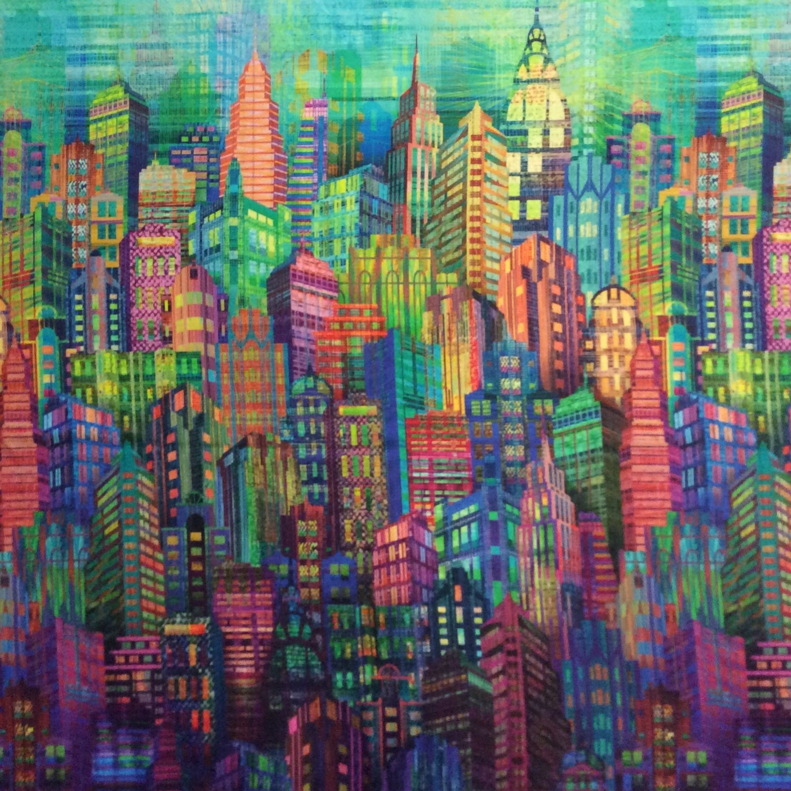 HM10 City Life Sky Scraper New York Building Rainbow Art Cotton Quilt Fabric
