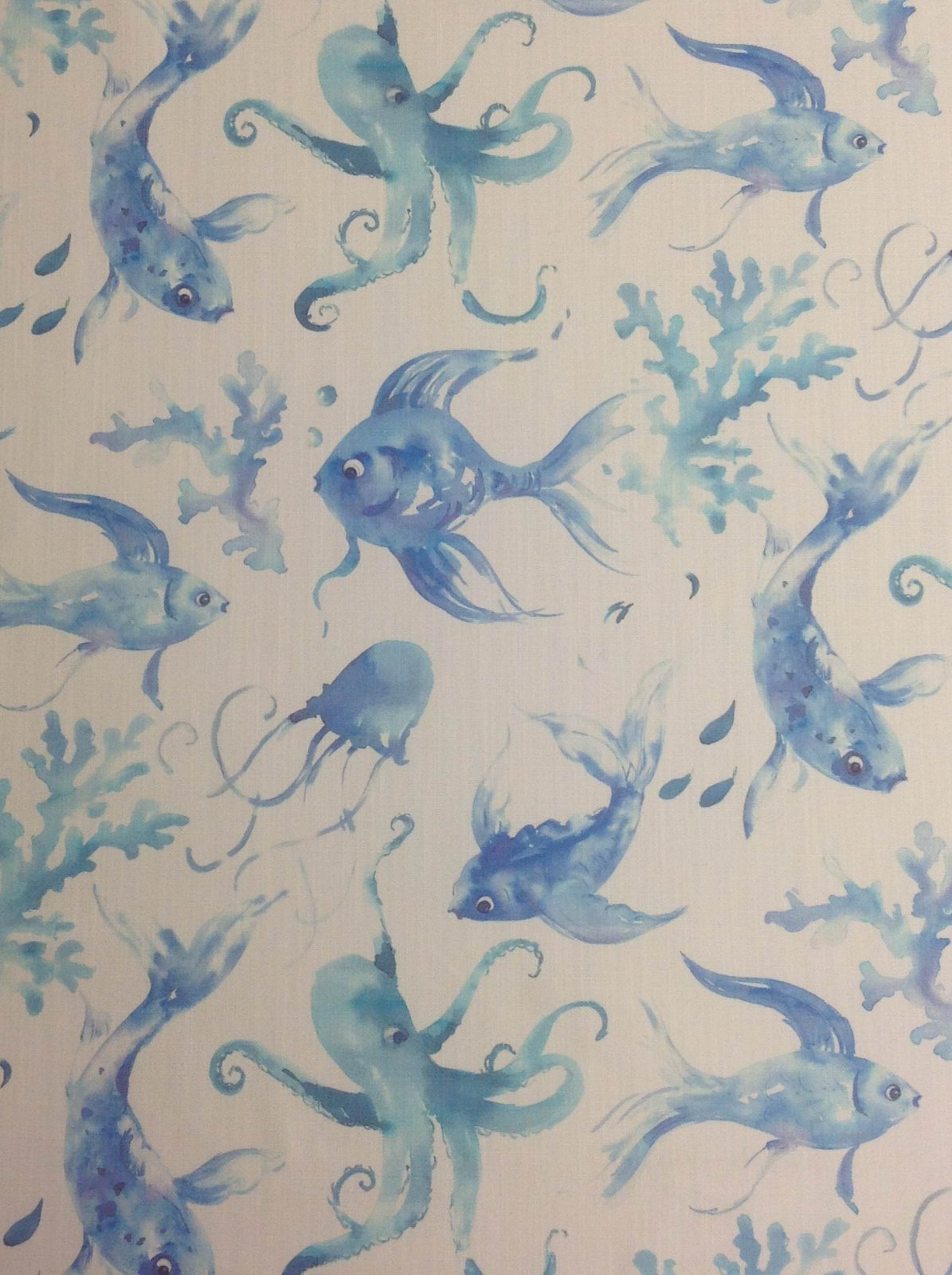 Sea Ocean Fish Octopus Marine Watercolor Painting Upholstery Home Decor Fabric Sold by the Piece! Out of Print! HM119