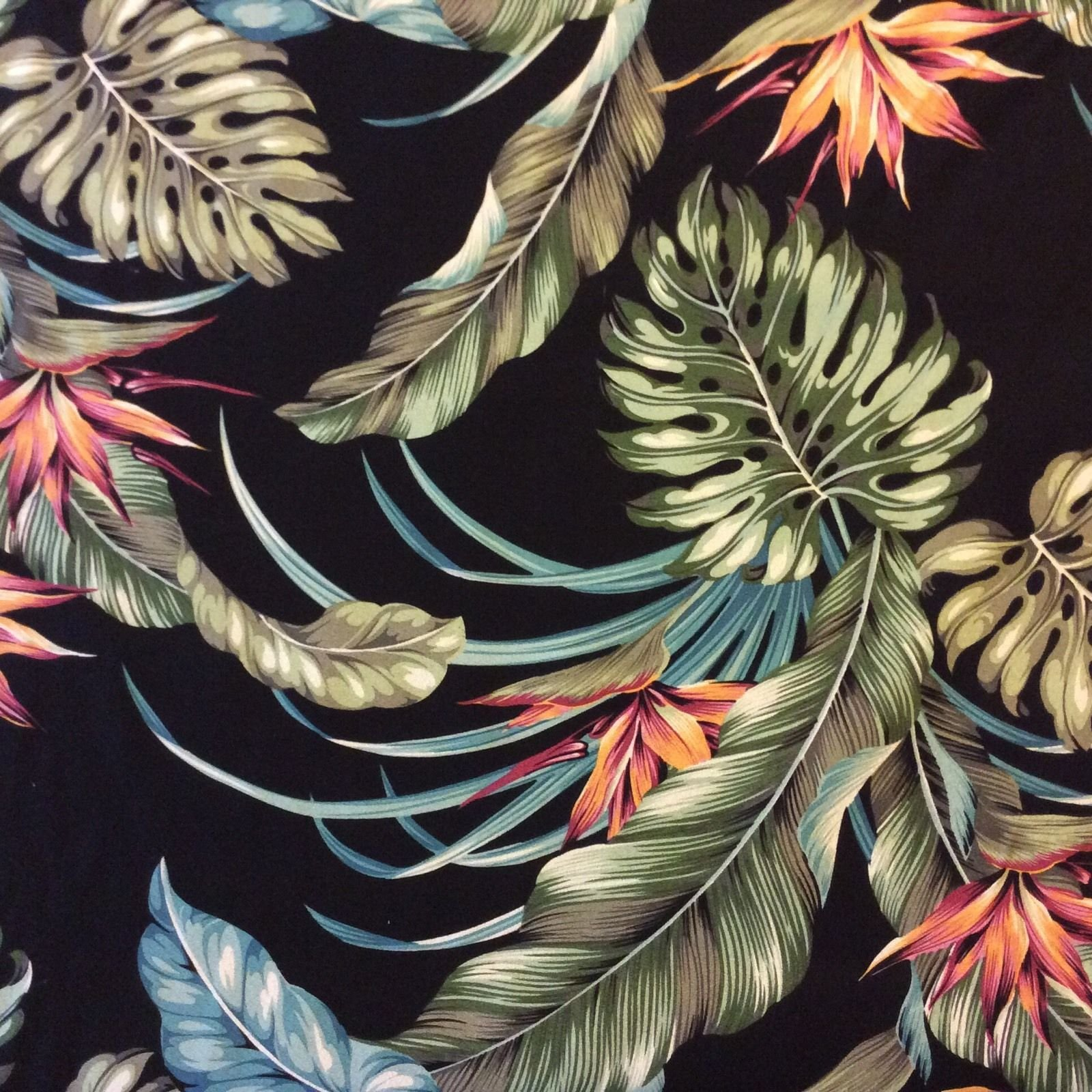 Retro Hawaii Exotic Tropical Flowers Black Palm Floral 100% Cotton Dobby Home Decor Fabric HTP022
