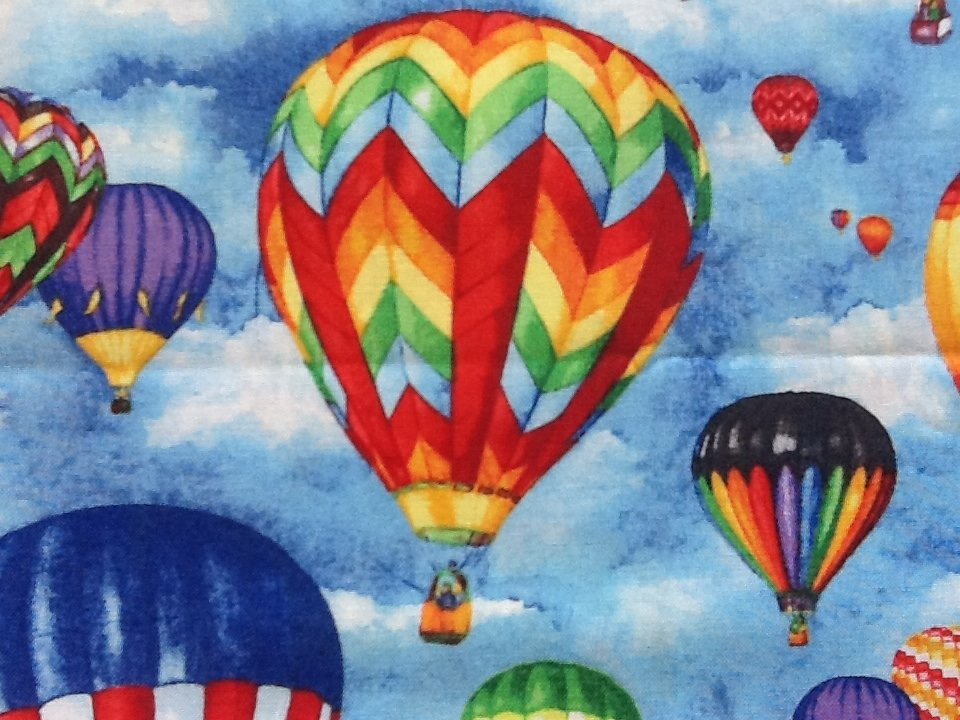 Hot Air Balloon Colorful Up In The Air Cotton Fabric Quilt Fabric CR425