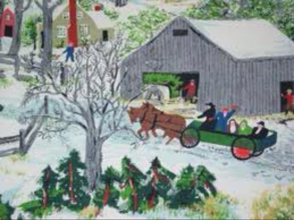 Grandma Moses True Vintage Original Bark Cloth Fabric Piece GM1