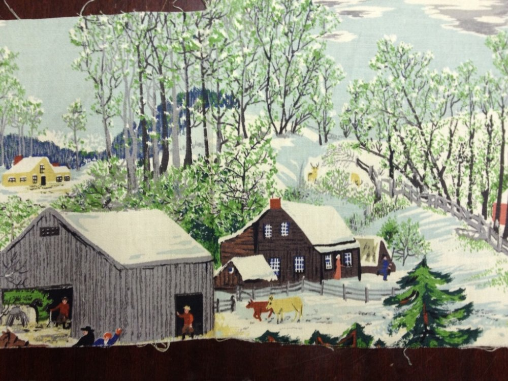 Grandma Moses True Vintage Original Bark Cloth Fabric Piece GM2