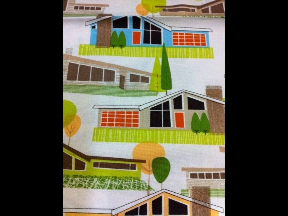 Atomic Ranch Palm Springs Eichler Mid Century Houses Cotton Fabric Quit Fabric CR383