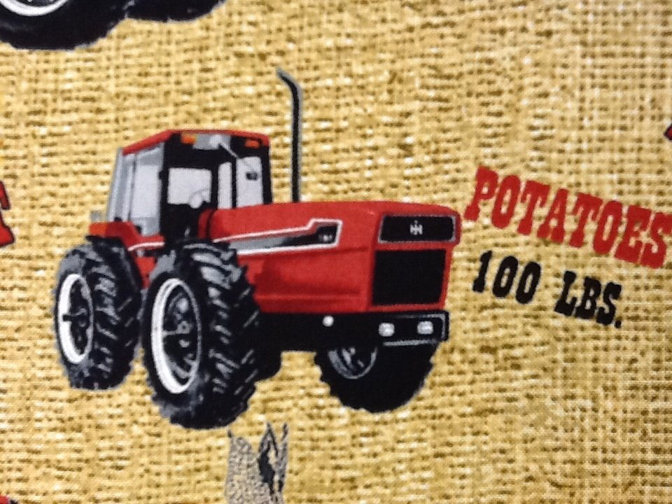Farmall International Harvester Tractor Farm Potatoes Wheat Sack Print Cotton Fabric Quilt Fabric PC287