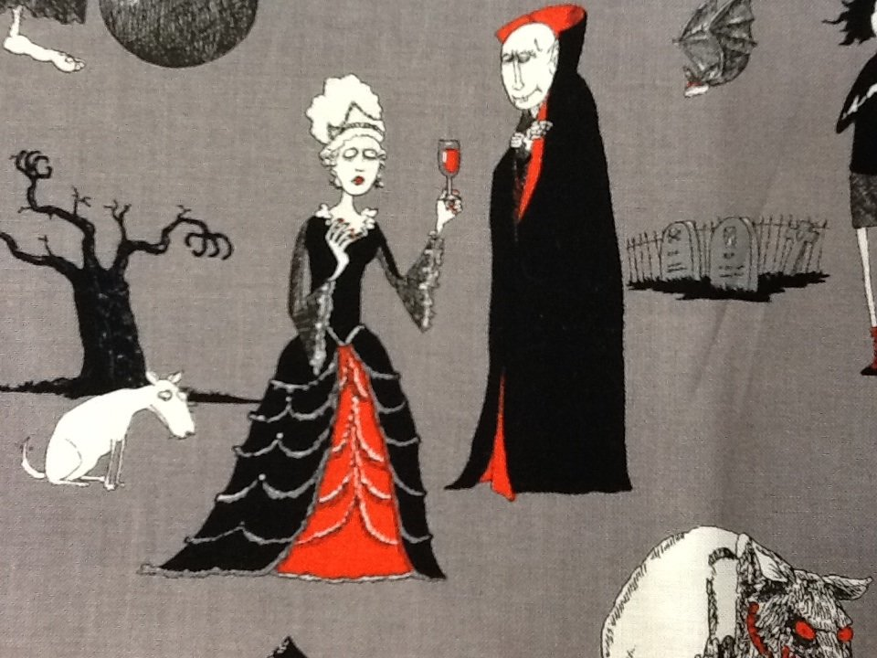 Andrew Pinder Halloween  Cemetary Edward Gorey Style Gothic Illustration Cotton Fabric Quilt Fabric CR456
