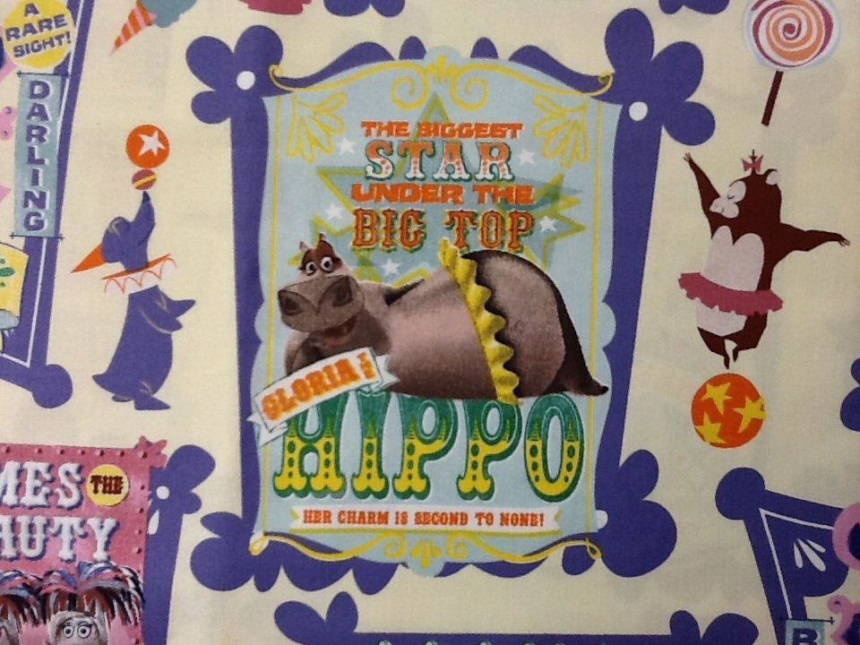 Madagascar Circus Animal Train Hippo Elephant Leopard Cotton Fabric Quilt Fabric FF122