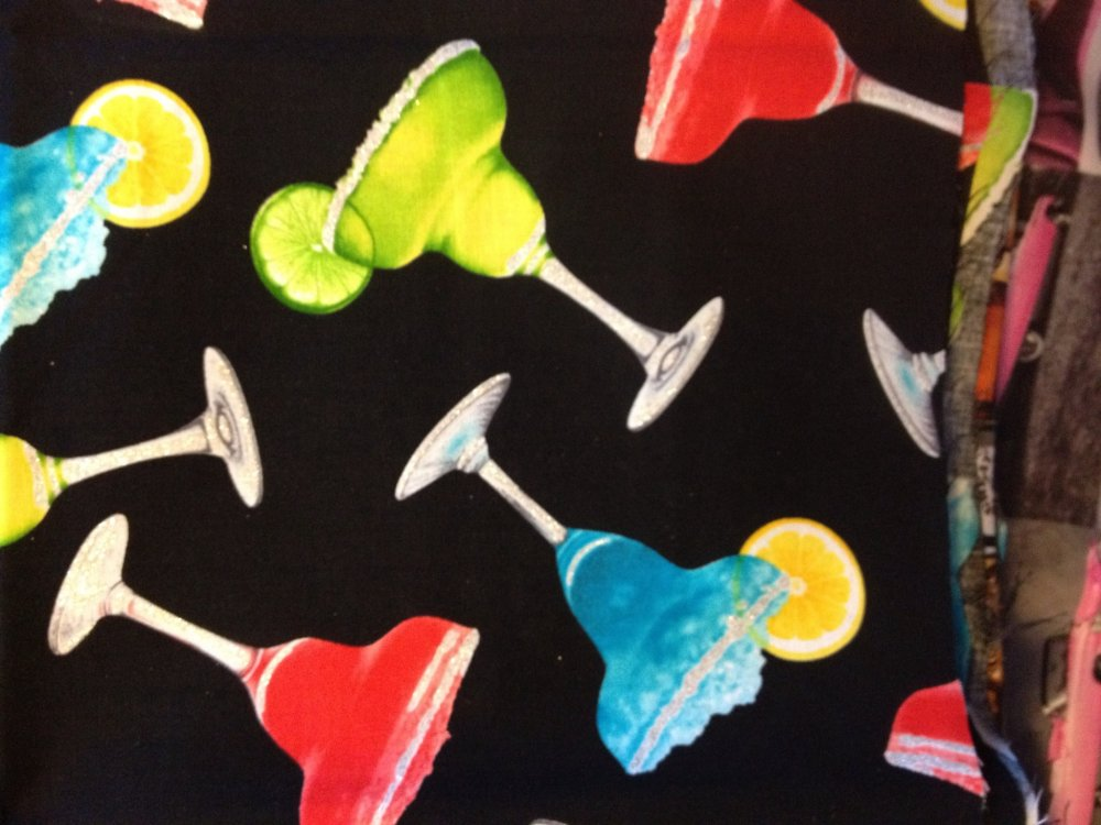 Margaritas Cocktail Hour Martini Glasses Cotton Fabric Quilt Fabric CR462