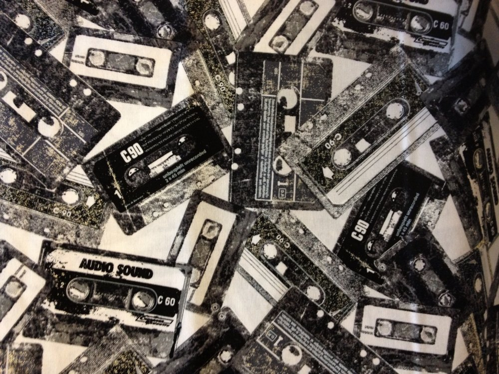 Cassette Tape Throwback Music Rock & Roll Cotton Fabric Quilt ... : music quilt fabric - Adamdwight.com