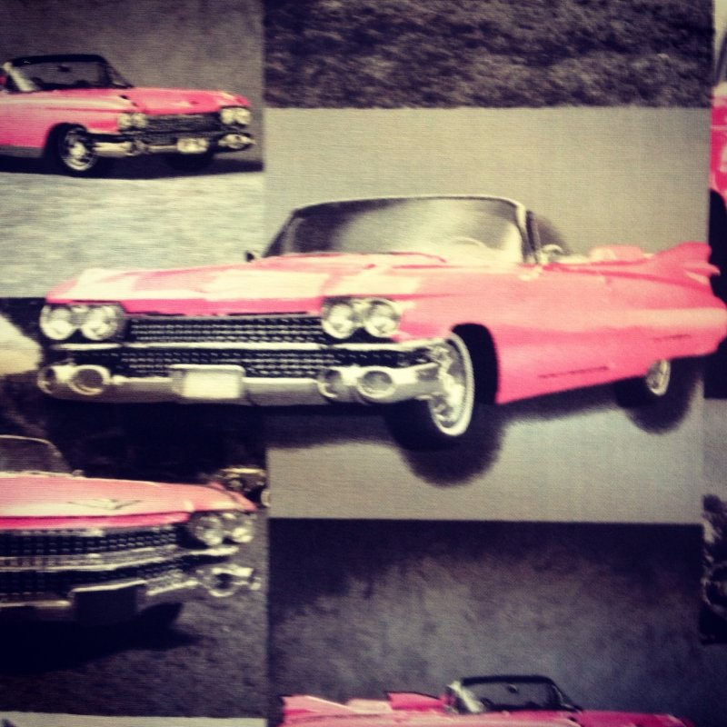 Cadillac Pink Fifties Convertible Car Retro Vintage Style Cotton ...