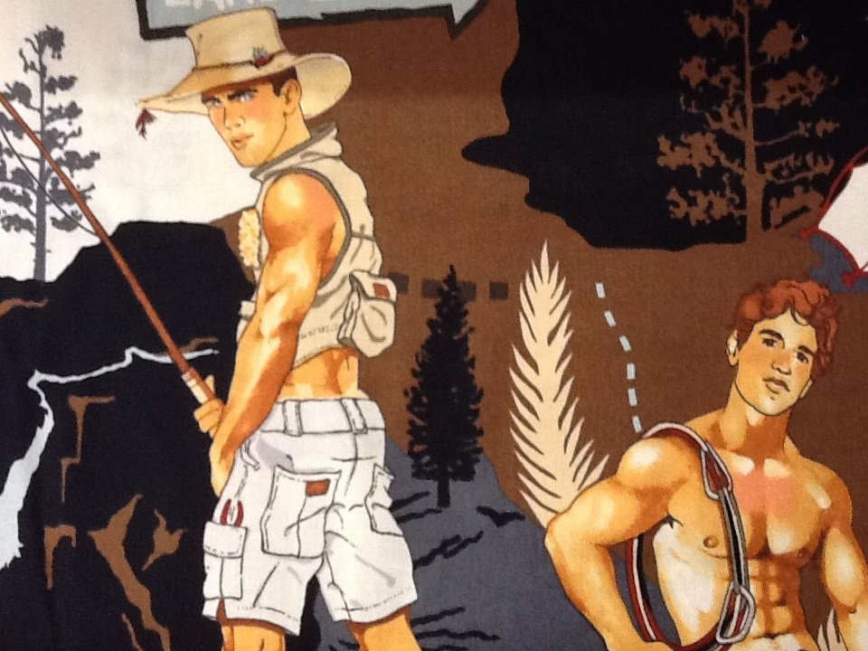 Sexy Pin Up Guy Outdoor Fisherman Lumberjack Camping Alexander Henry Cotton Fabric Quilt Fabric CR475 AH117