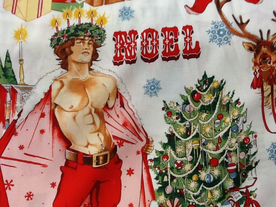 Sexy Pin Up Guy Christmas Santa Alexander Henry Chimney Cotton Fabric Quilt Fabric CR477