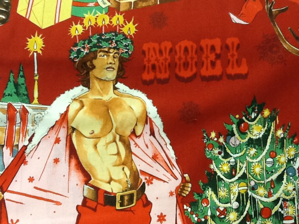 Sexy Pin Up Guy Christmas Santa Alexander Henry Chimney Cotton Fabric Quilt Fabric CR478