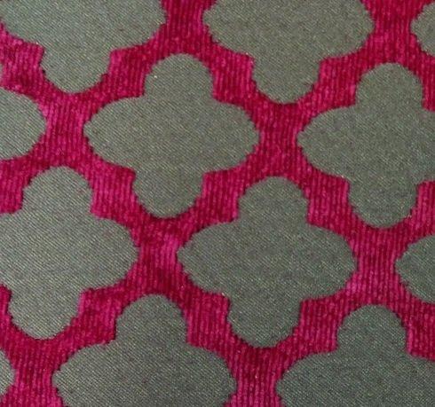 Trellis Modern Geometric Magenta and Chocolate Chenille Heavy Duty Upholstery Fabric LHD307C